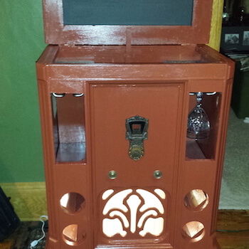 Old Radio Becomes a Wine Bar Complete with Glass Rails, Bottle Holders and Lights
