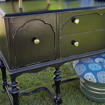 Black Distressed Buffet with Mirror Handles