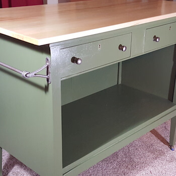 This Green Island Has Two Baskets (not shown) & Two Drawers for Storage