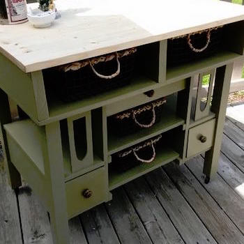 An Old Desk Creates a Solid Base for this Kitchen Island with Basket Storage